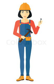 207x320 Construction Worker Hammering A Nail. Vector Clip Art Illustration