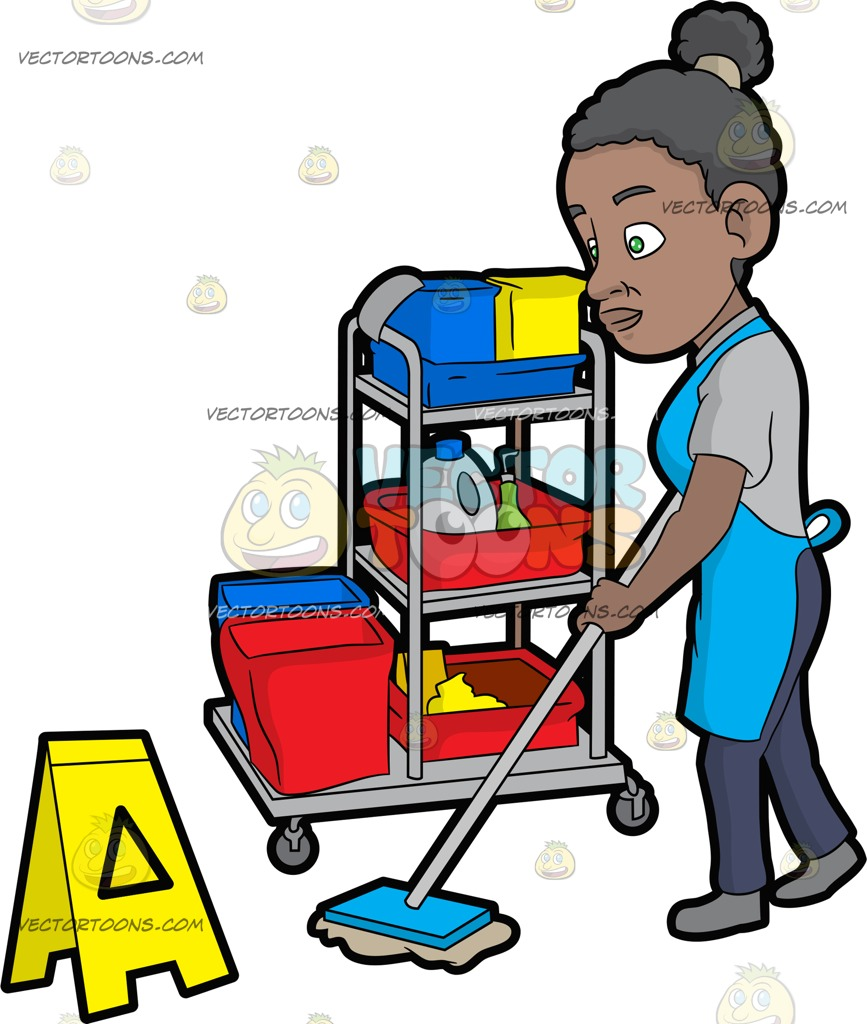 867x1024 A Black Female Janitor Mopping The Floor Cartoon Clipart