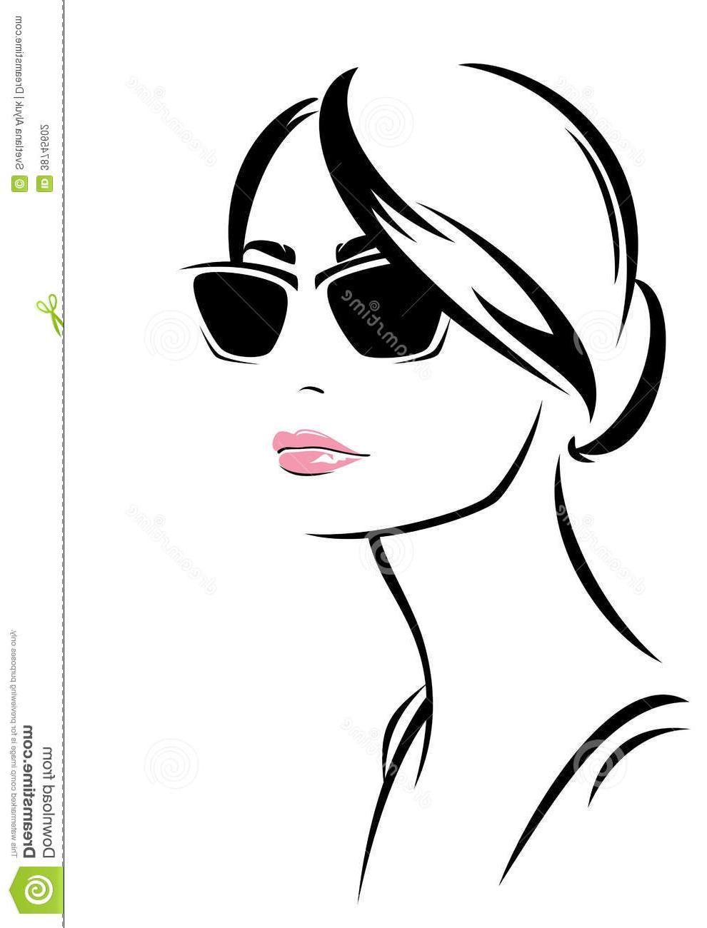 990x1300 Fashion Girl Beautiful Woman Face Sunglasses Outline Trendy Portrait