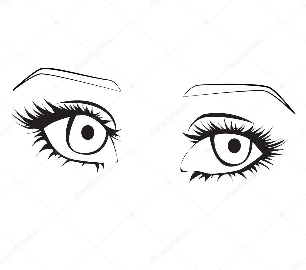 1024x905 Female Eyes Outline. Stock Vector Reenya