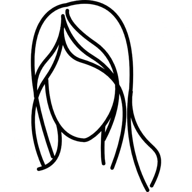 626x626 Female With Long Wavy Hair Outline Icons Free Download