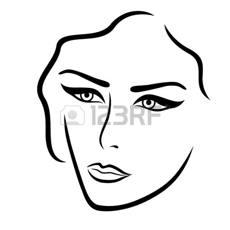 450x450 Abstract Black And White Female Face With Ornate Stylized Mask