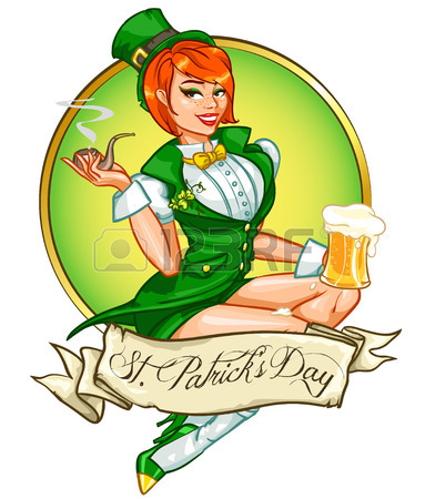 383x450 Beautiful Leprechaun Girl With Beer, St. Patricks Day Pin Up