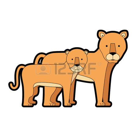 450x450 A Wild And Big Lion Female With Son Vector Illustration Design