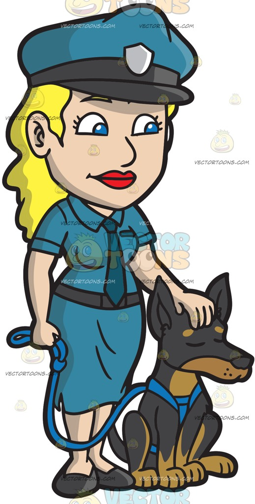 519x1024 A Female Police Officer Petting Her Dog Cartoon Clipart
