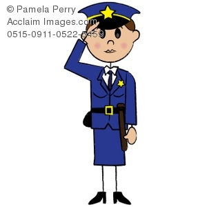 300x300 Art Illustration Of A Stick Figure Female Police Officer