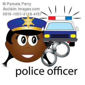 300x300 Clip Art Illustration Of A Black Female Police Officer Icon
