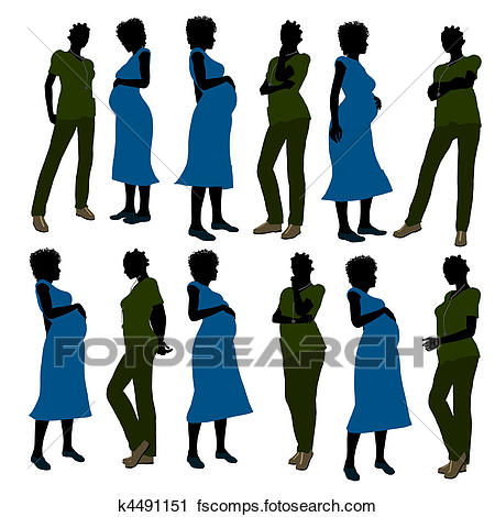 450x470 Clipart Of African American Female Doctor Silhouette K4491151