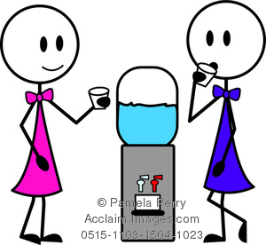 300x276 Art Image Of Two Stick Figure Woman Chatting Around A Water Cooler