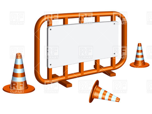 533x400 Restricted Area Fence And Traffic Cones Royalty Free Vector Clip