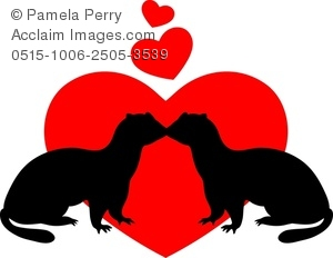 300x232 Clip Art Image Of A Silhouette Of Ferrets Kissing In Front Of A Heart
