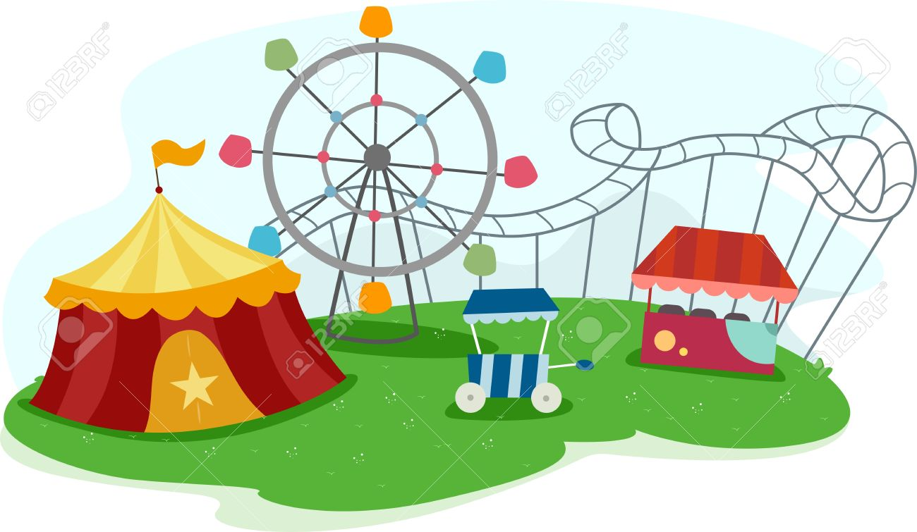 1300x755 Illustration Of A Theme Park With Rides Stock Photo, Picture