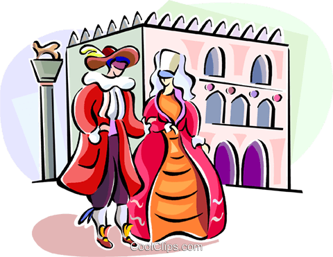 480x371 Couple Attending An Italian Festival Royalty Free Vector Clip Art