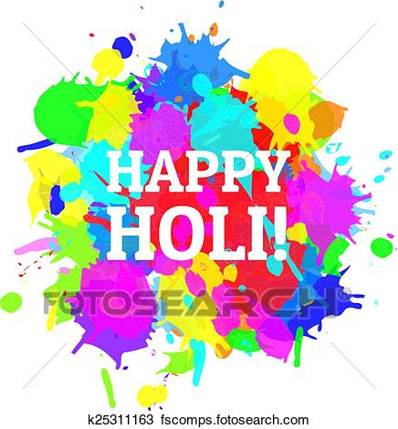 436x470 Clipart Of Indian Festival Happy Holi Colors Splash Vector