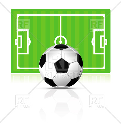 387x400 Soccer Ball On Green Field Background Royalty Free Vector Clip Art