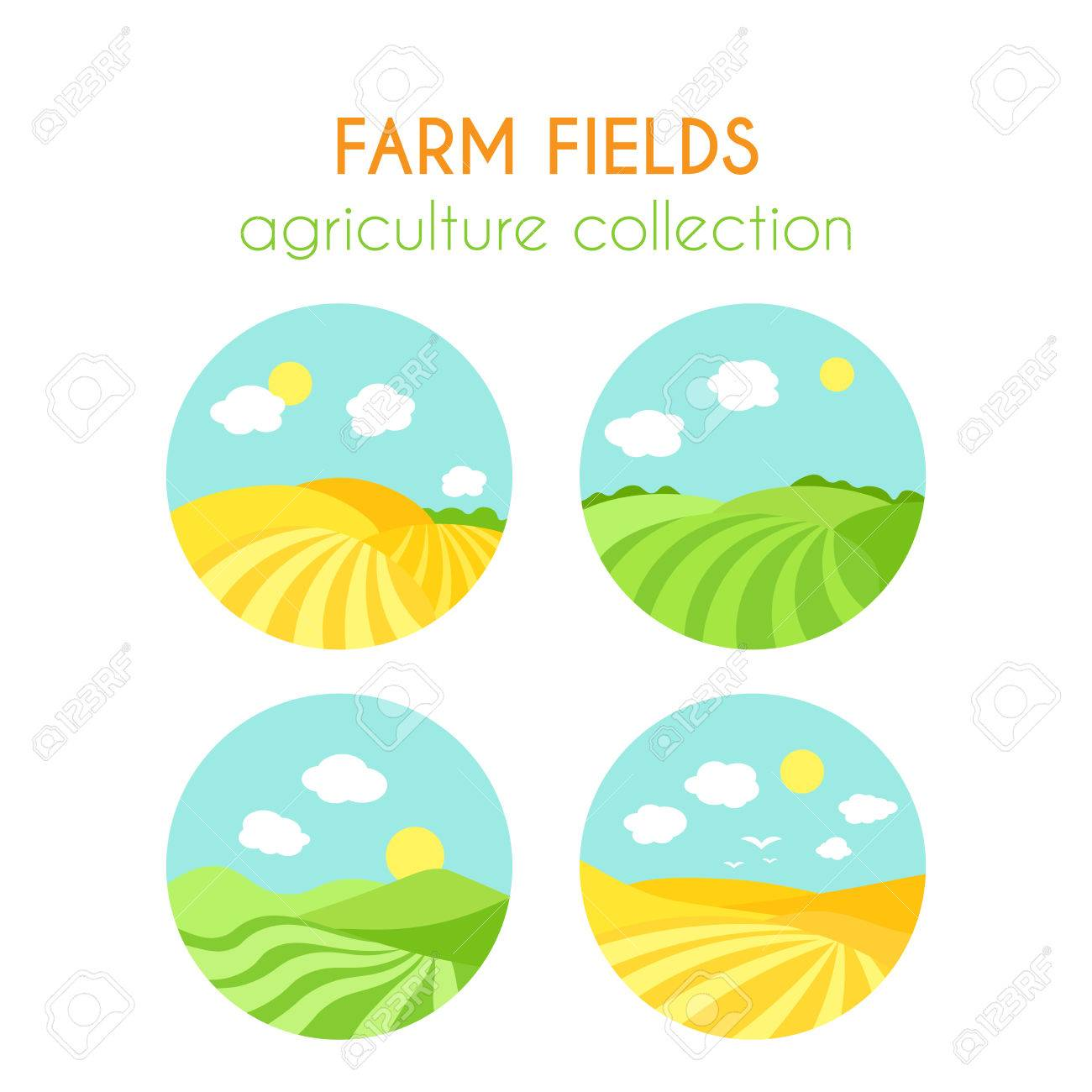 1300x1300 Set Of Farm Fields Landscapes. Round Badges With Crop In Field