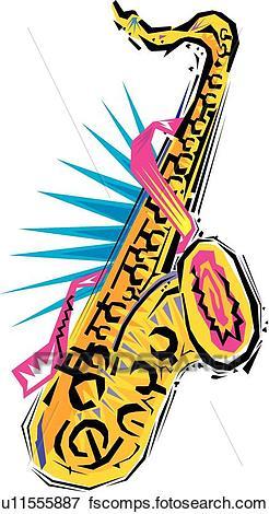 246x470 Clip Art Of Fiesta Saxophone U11555887