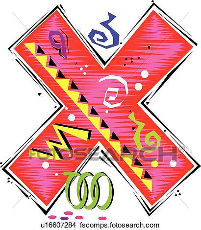 410x470 Clipart Of Fiesta I Letter X U16607284