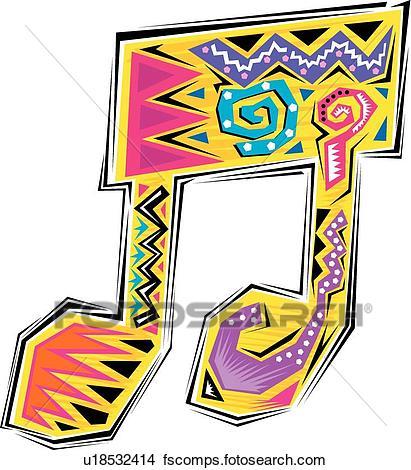 411x470 Clipart Of Fiesta Music Note U18532414