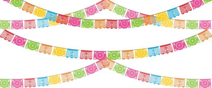 736x307 Papel Picado Banners Clipart