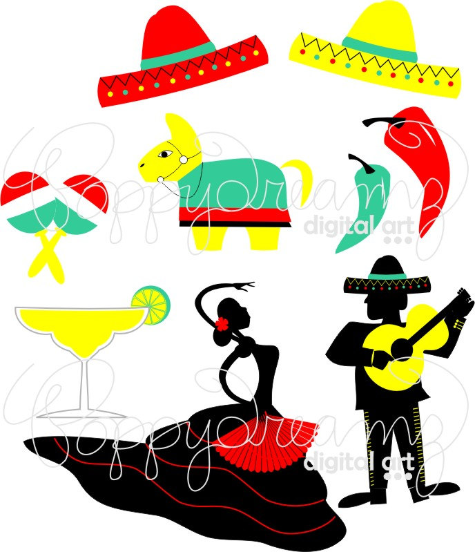 688x799 Fiesta Cinco De Mayo Digital Clip Art Pack (300 Dpi) Flamenco