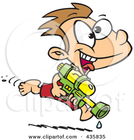 450x470 Art Water Gun Fight Clipart