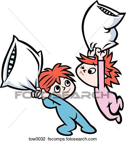 417x470 Clip Art Of Pillow Fight Tow0032
