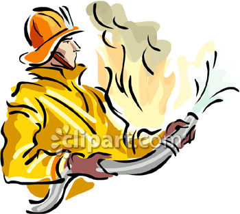 350x313 Royalty Free Clip Art Image A Fireman Fighting A Fire With A Firehose