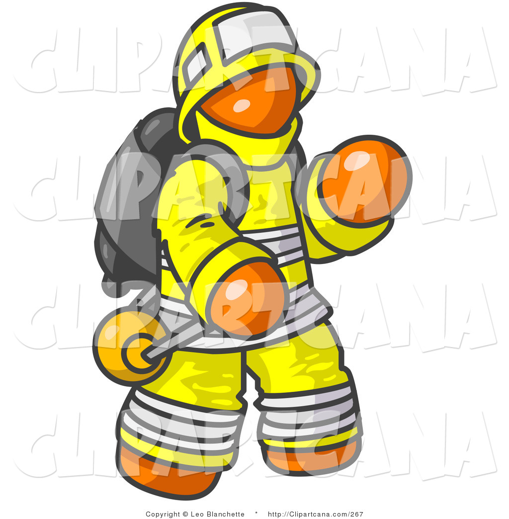 1024x1044 Vector Clip Art Of An Orange Fireman In A Yellow Uniform, Fighting