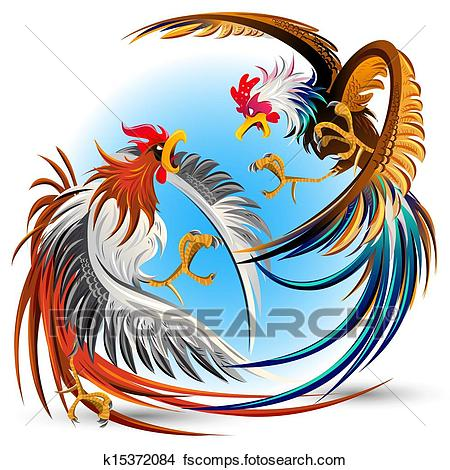 450x470 Clipart Of Cockfight Fighting Cocks K15372084