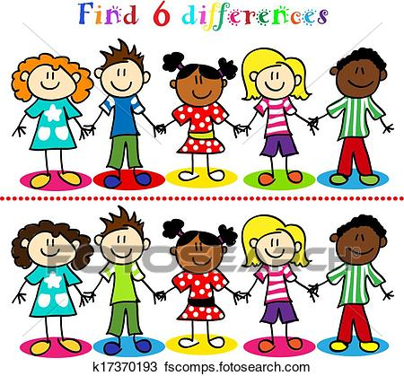 450x419 Clipart Of Difference Game With Kids Stick Figures K17370193