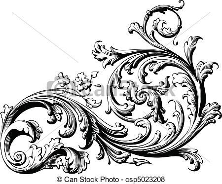 450x373 Floral Scroll