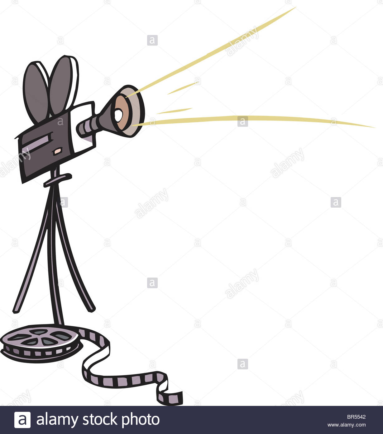 1229x1390 Drawing Of A Movie Camera And Film Stock Photo, Royalty Free Image