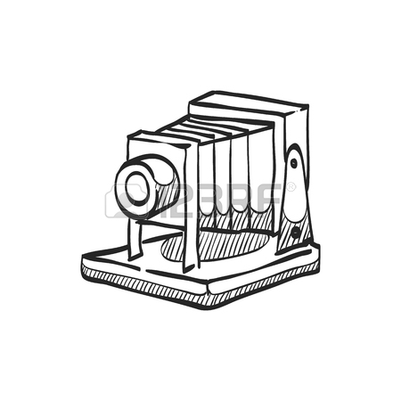 450x450 Large Format Camera Icon In Doodle Sketch Lines. View Field Sheet