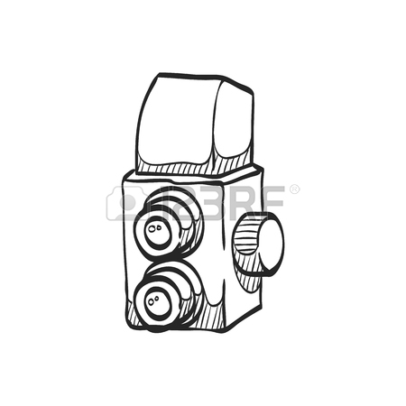 450x450 Camera Icon In Doodle Sketch Lines. Vintage Retro Photography