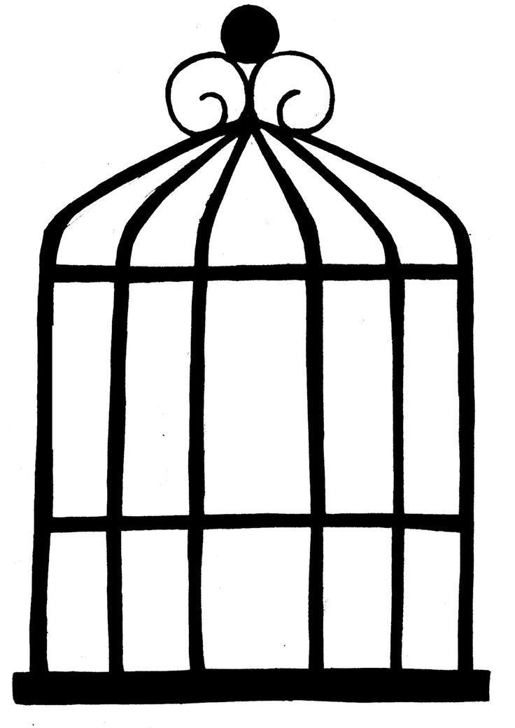 736x1041 Best Birdcage Drawing Ideas Art Clipart, Bird