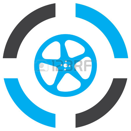 450x450 Movie Film Reel Vector Icon. Cinema Projection Sign. Car Rim