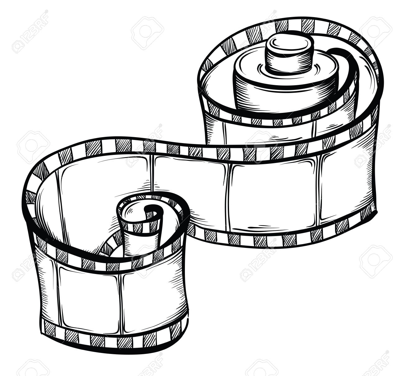 1300x1209 Film Strip. Vector Hand Drawn Illustration Royalty Free Cliparts