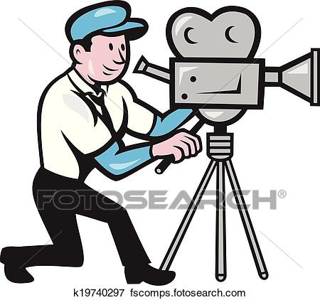 450x422 Clip Art Of Cameraman Vintage Film Movie Camera Side Cartoon