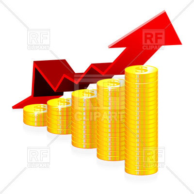 400x400 Financial Growth Concept With Coins Royalty Free Vector Clip Art