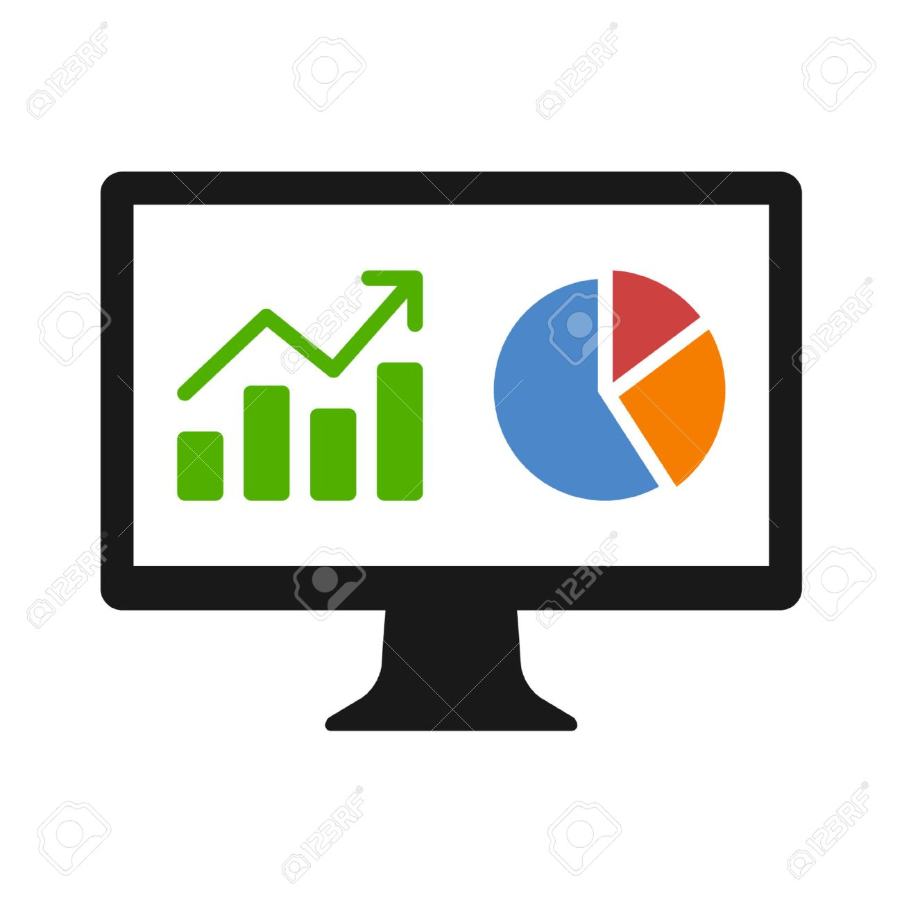 1300x1300 Financial Analytic Chart Graphs On Computer Monitor Flat Icon
