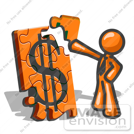 450x450 Clip Art Graphic Of An Orange Guy Character Fitting A Corner Piece