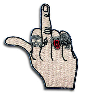 300x300 Middle Finger Flipping Off Patch Iron On Chopper Biker Lady Rider