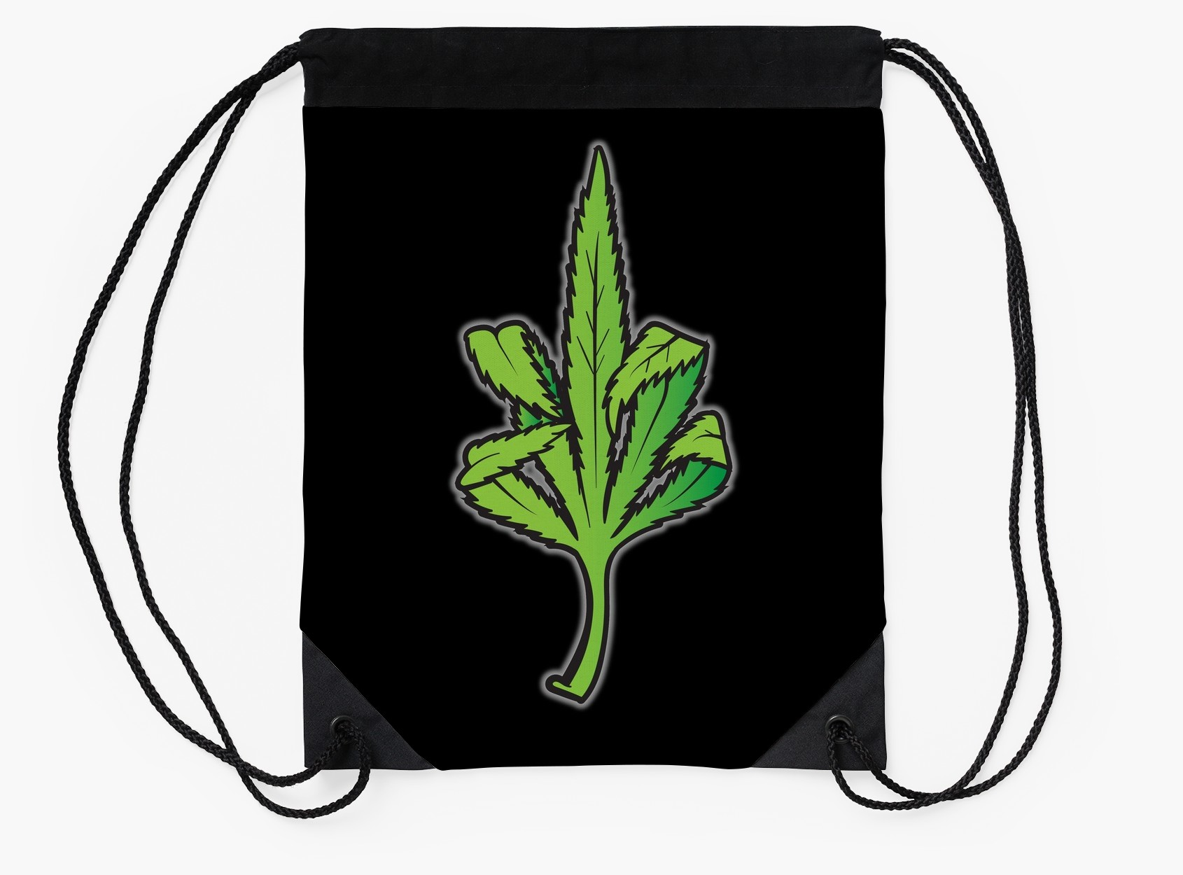 1690x1250 Pot Leaf Weed Middle Finger Flipping Off Drawstring Bags By