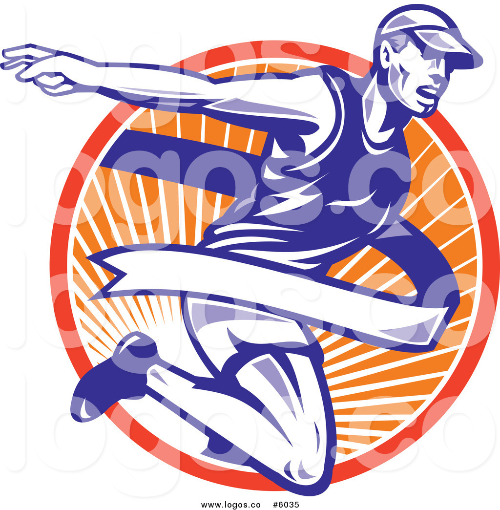 1024x1044 Royalty Free Vector Of A Logo Of A Marathon Runner Breaking