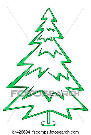 318x470 Drawings Of Christmas Fir Tree, Pictogram K7426694