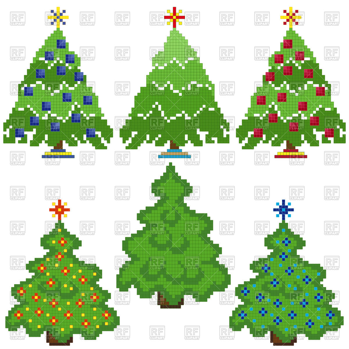 1200x1200 Pixel Christmas Trees With Different Decorations