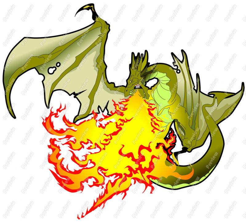 800x726 Dragon Breathing Fire Character Clip Art
