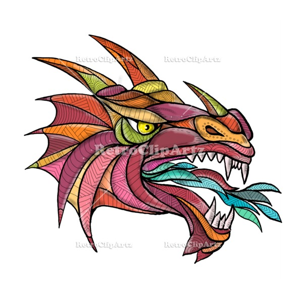 590x590 Dragon Breathing Fire Mandala Retroclipartz