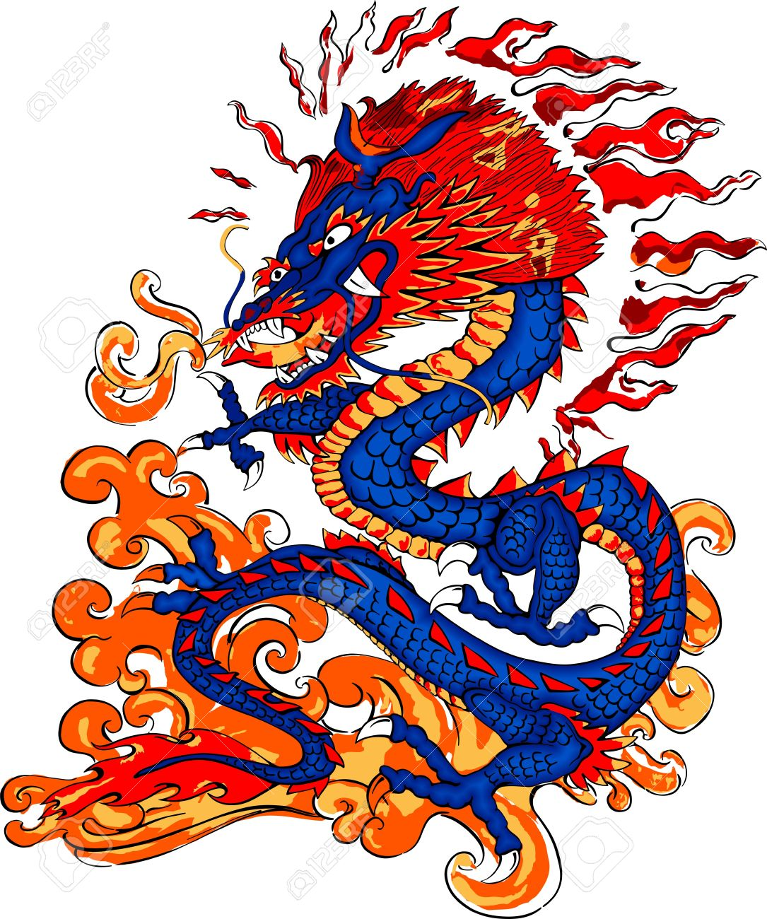 1085x1300 Drawn Chinese Dragon Fire Breathing
